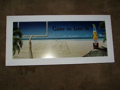 NEW Game On, Lime In Football Corona Extra All Sand Fiels Mirror Beer Bar Sign