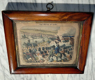 c1860 Antique Framed Print Battle of Alma Hand Coloured~Old Town London