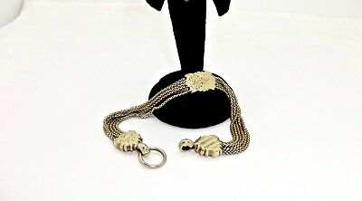 """Antique Victorian Gold Plated 5 Strand Slide Fob 9"""" Watch Chain,"""