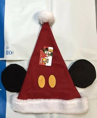 Christmas Disney Mickey Mouse Santa Hat w/ Ears Pompom Red & White NWT