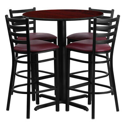 "30""Round Mahogany Laminate Table Set w/4 Metal Barstools Burgundy Red Vinyl Seat"