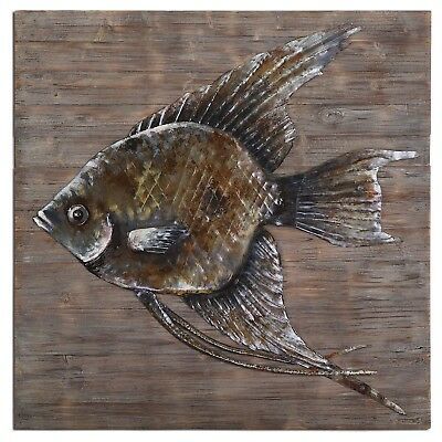 """Iron Fish Hand Embossed Painted Steel Wall Art on Reclaimed Wood, 40""""x40"""" Brown"""