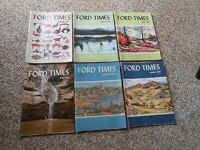Lot Of 6 Vintage 1958 Ford Times Magazines