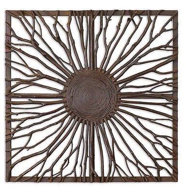 Josiah Square Wall Art w/ Wooden Branches in Burnished Light Gray Accents Brown