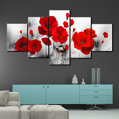 5 Pannel Red Poppy Flower Oil Painting Ink Canvas Art Picture Wall Hanging Decor