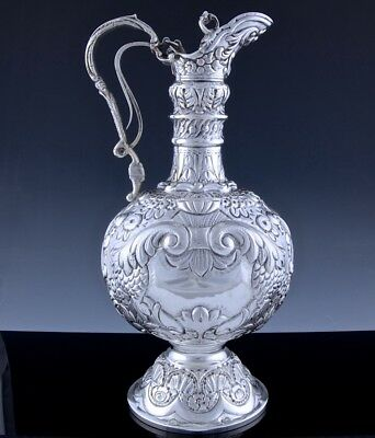 Amazing Antique Spanish Colonial Sterling Silver Armada Claret Wine Jug Pitcher