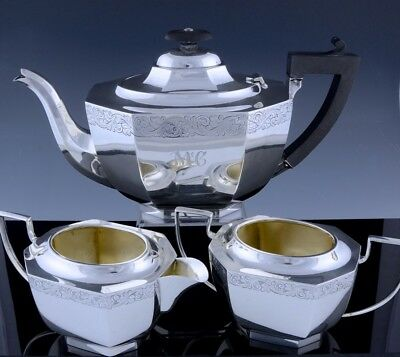 VRY FINE ART DECO 1924 ETCHED ENGLISH STERLING SILVER TEAPOT CREAM SUGAR 3pc SET