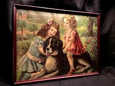 """Antique Victorian""""ROVER AND HIS FRIENDS""""Little Girls & Dog-Framed Art Lithograph"""
