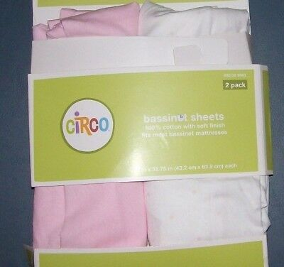 Bassinet Sheets 2 Pack Cotton White Pink Circo