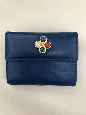 Vintage Judith Leiber Leather Wallet Mini Style Royal Blue Excellent Condition