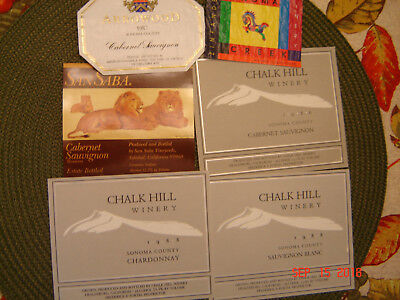 California Wine Labels 1986-1990 Two Used & Four New Labels