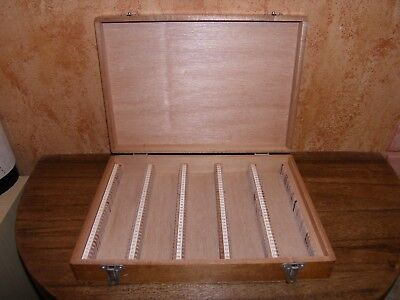 Vintage Wooden Slide Box, Nebro / Amplion Style, Hinged Lid, 175 Slide Capacity.