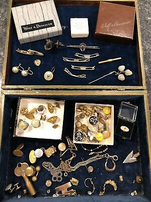 Vintage antique jewelry lot Brooches, Earrings, Pins, Gold Heart Charm Cufflinks