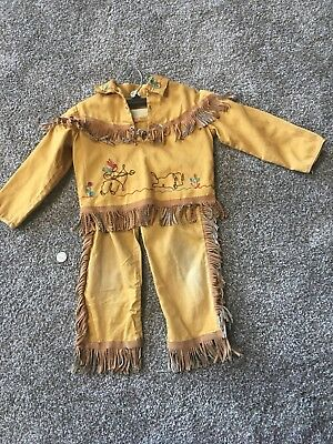 """Vintage  Childrens  Western Indian And Buffalo Jacket And Pants 1960""""s Clothing"""