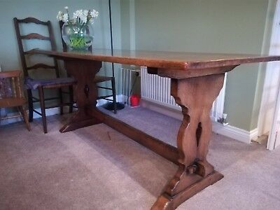 Arts and Crafts Oak Dining Table And 6 Chairs
