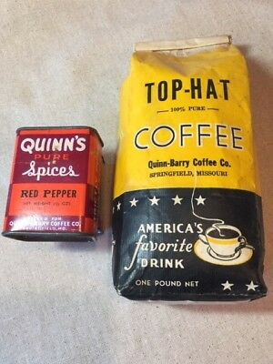 Vintage QUINN-BARRY COFFEE Co Coffee Beans & Spice Tin, Springfield, MO