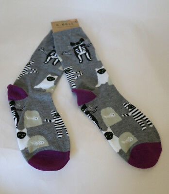 New K Bell Halloween Graveyard Skeleton Ghost Cat Burgler Woman's Socks Sz 9-11