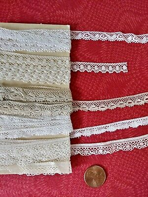tiny thin French Antique Lace Valenncia Trim  5 yards Val edging