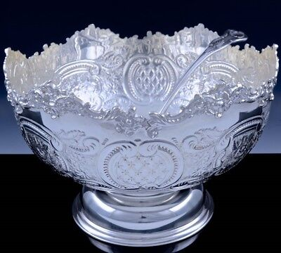 FANTASTIC LARGE ENGLISH SILVER PLATE REPOUSSE PUNCH BOWL w KINGS PATTERN LADLE