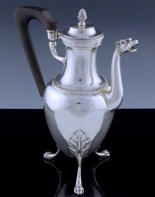 EX.RAREc1800 NAPOLEONIC FRENCH STERLING SILVER LION FIGURAL COFFEE CHOCOLATE POT