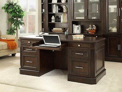 Stanford Transitional Double Pedestal Executive Desked in Light Vintage Sherry