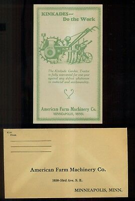 "1930's American Farm Machinery Co. ""Kinkade Tractors"" Ad Flier and Envelope"