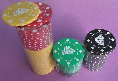 Cutty Sark Scotch ~ Set Of 60 Chips ~ Red, Yellow, Green, & Black