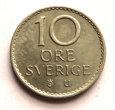 Sweden 10 Ore 1966 U Copper-Nickel KM#835 UNC