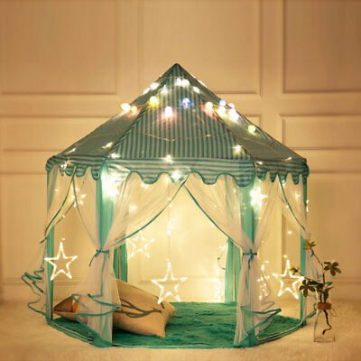Blue Tent Princess House Castle Girls Playhouse Kids In/Outdoor Fairy Play Tent