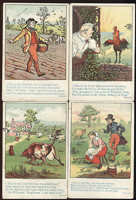Set Of 4 Trade Cards Advertising Williams Soaps, Poems  With Farm Theme