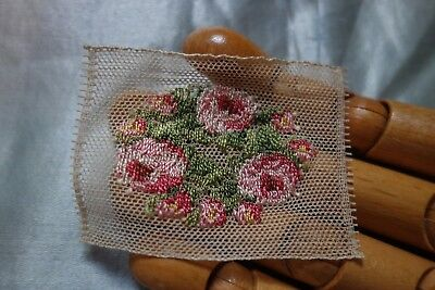 ANTIQUE 20's Flapper PASTEL HAND EMBROIDERED TULLE Floral Applique/Fragment LOT