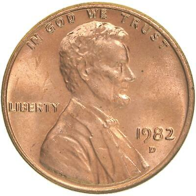 1982 D Lincoln Memorial Cent Large Date Copper BU Penny US Coin