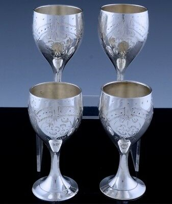 Very Fine Set Heavy Indian Middle Eastern Sterling Silver Etched Wine Vodka Cups