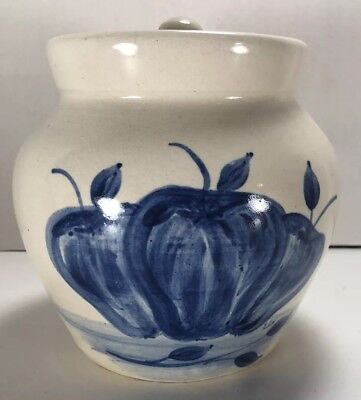 Vintage Ceramic Apple Pattern Cookie Jar Fruit Bowl With Lid