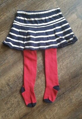 NWT Baby Gap Girls Attached Blue White Stripe Skirt Red Tights 12-18 Months