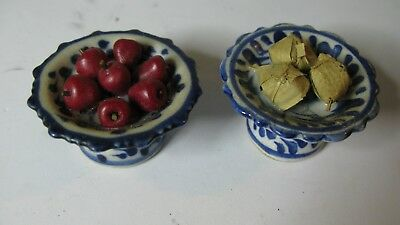 Antique Chinese blue and white Porcelain pallet Famille Glazed Ceramic Fruits