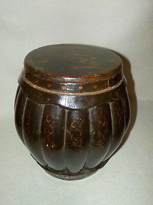 Antique Chinese Or Asian Wooden Rice / Storage Barrel W Lid Faded Hand Painted