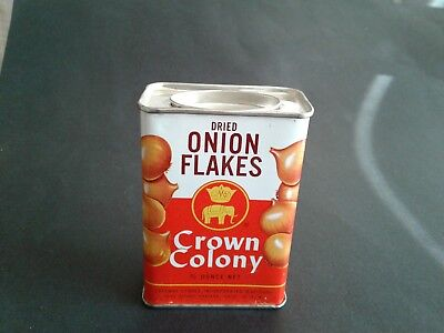 Crown Colony Onion Flakes Spice Tin Neat Graphics