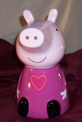 "Brand NEW Peppa Pig Piggy Bank Painted Ceramic 9"" Tall Kids Cartoon Show FAB NY"