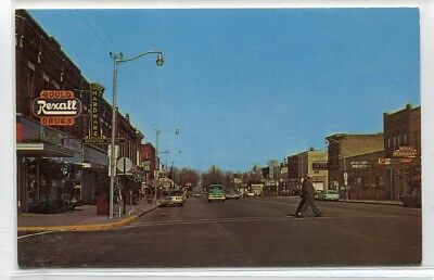 Houghton Avenue Cars Rexall Drug Store West Branch Michigan postcard