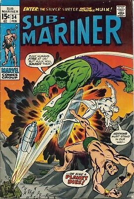 Sub-Mariner #34 - February, 1971 - Fine- (KEY - Prelude to first Defenders)