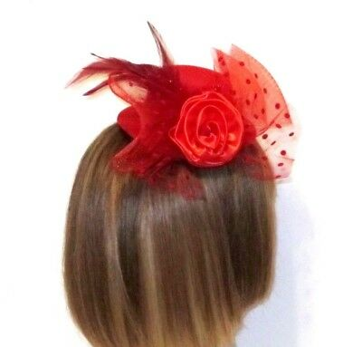 Red Bow Satin Rose Dotted Netting Feathers Mini Hat Fascinator Society Ladies