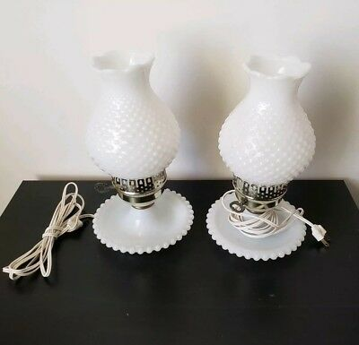 Gone With The Wind Pair of Vintage Fancy Hobnail Milkglass Hurricane Lanterns