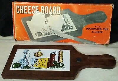 Vintage Decorated Tile Cheese Board Materia Interpur Old World Italian Cuisine