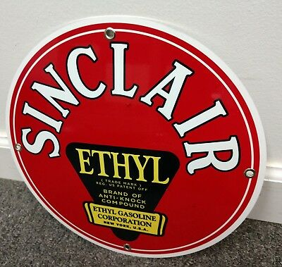 Sinclair Ethyl Gas company Oil gasoline sign ..FREE ship on 10 signs