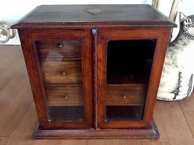 Rare Antique Doctor/Barber Apothecary Cabinet Glass Doors Drawers Cubby Holes