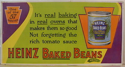 """rare c1904 Heinz Baked Beans One Of The 57 Varieties cardboard sign 21"""" x 11"""""""