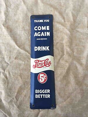 Vintage Pepsi-Cola Store Exit Painted Advertising Door Push Soda Plate Sign