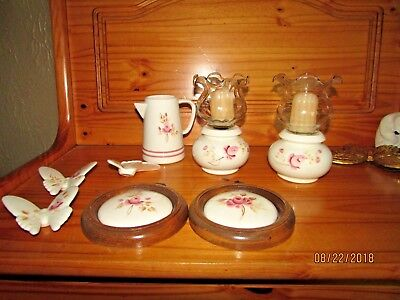 2 Homco PINK Rose Bud  Candle Holders Butterflies Plaques Pitcher Votive Cups