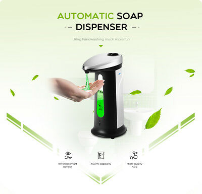 400ml Automatic Soap Dispenser w Built-in Infrared Smart Sensor for Kitchen Bath